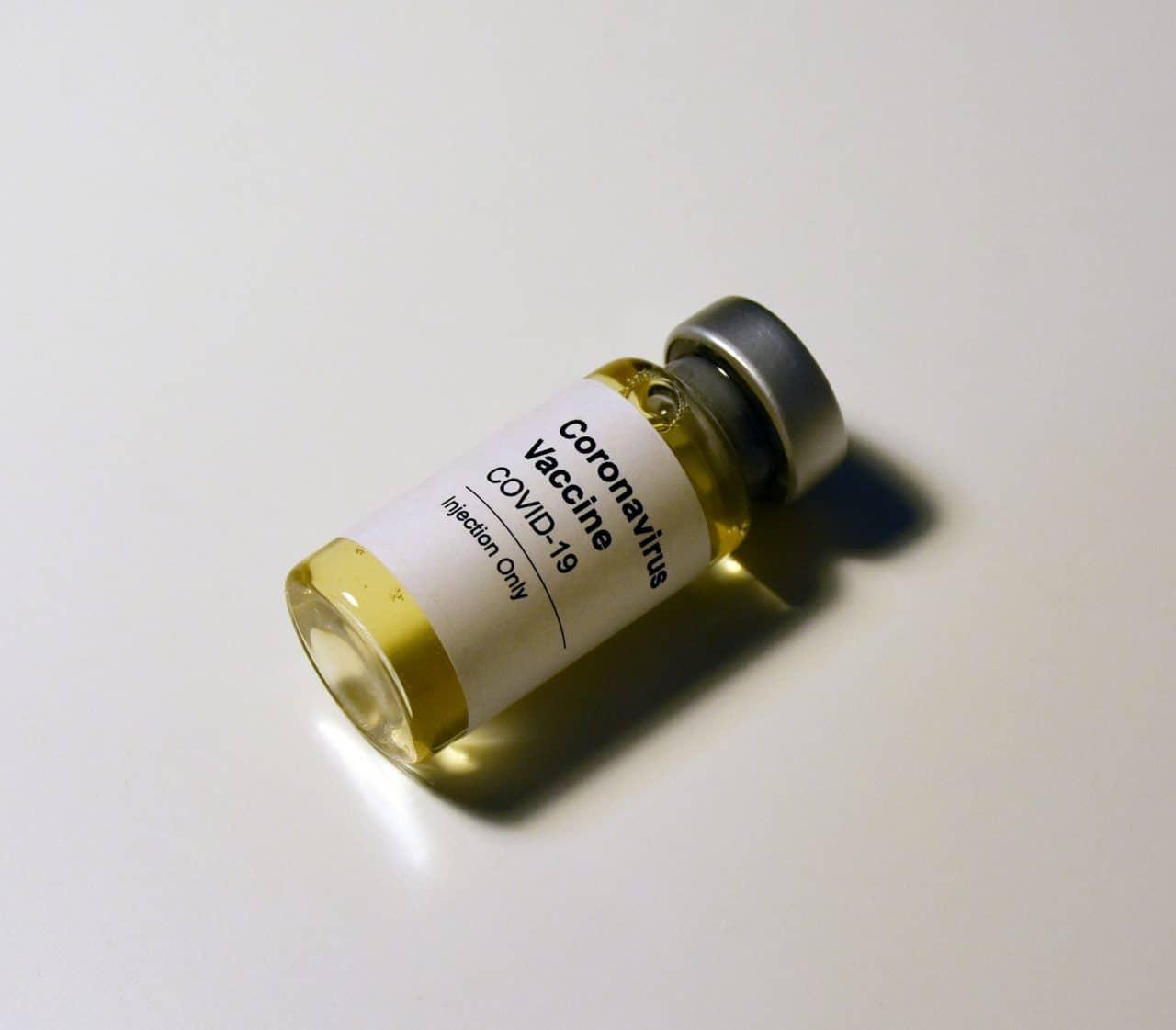 A COVID vaccine vial.